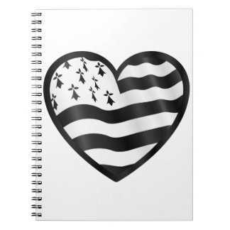 Heart with Bretin flag inside Spiral Notebook