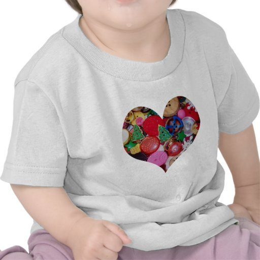 Heart with Christmas Tree Buttons T Shirt