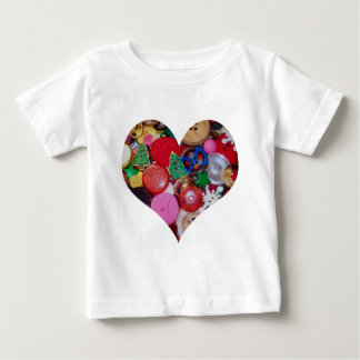 Heart with Christmas Tree Buttons Tshirt
