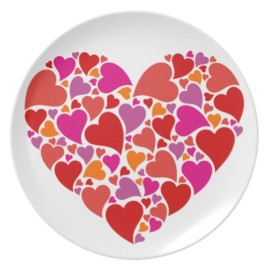 Heart with colourful heart pattern plate
