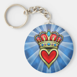 Heart With Crown Basic Round Button Keychain
