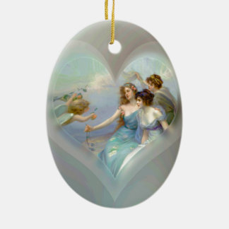 Heart with Cupid and Ladies Ceramic Oval Ornament