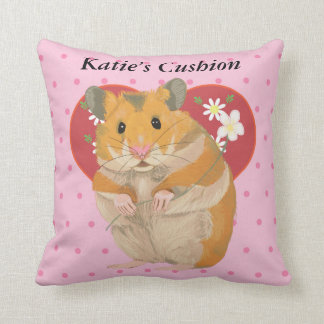 Heart with Daisies and Pink Dots Hamster Throw Pillow
