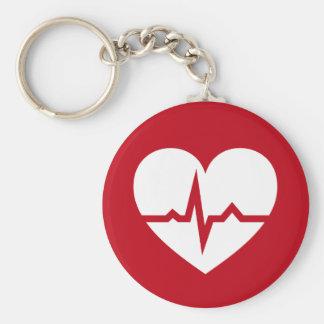 Heart with ECG wave cardiologist or cardiac nurse Keychain