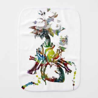 Heart with Flowers Abstract Gifts Burp Cloth