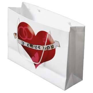 Heart with I love you banner and ornaments Large Gift Bag