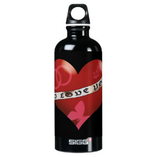 Heart with I love you banner and ornaments Water Bottle