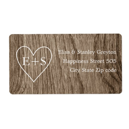Heart with initials wood grain rustic wedding shipping label