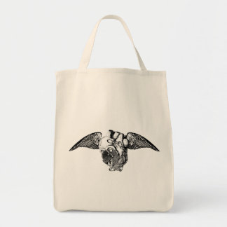Heart with Locks and Wings Grocery Tote Bag