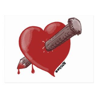 heart with love cartoon style illustration postcard