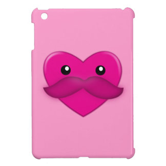 Heart with Moustache and Pattern iPad Mini Case