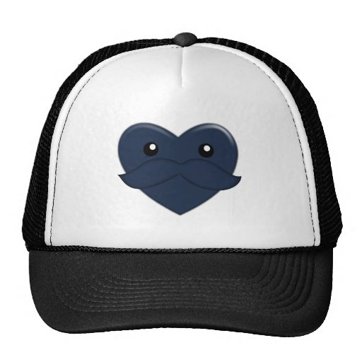 Heart with Moustache Mesh Hats