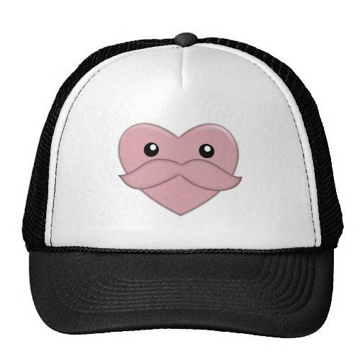 Heart with Moustache Hats