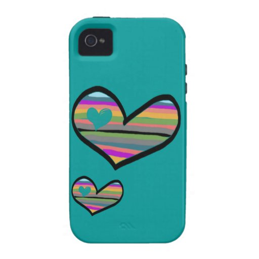 heart with multicolored touch filled iPhone 4 cover