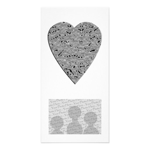 Heart with Printed Gray Pattern. Picture Card