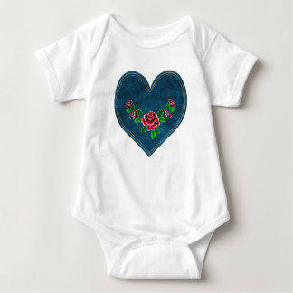 Heart with red roses baby bodysuit
