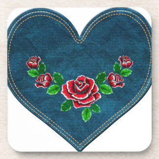 Heart with red roses coaster