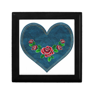 Heart with red roses gift box