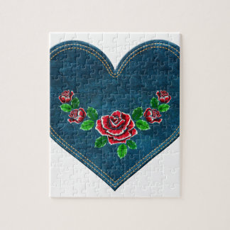 Heart with red roses jigsaw puzzle