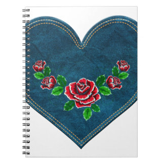 Heart with red roses notebook