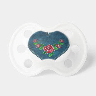 Heart with red roses pacifier