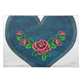 Heart with red roses placemat