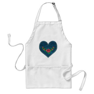 Heart with red roses standard apron