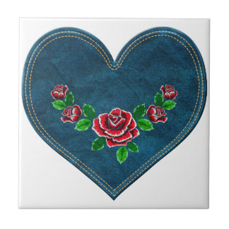Heart with red roses tile