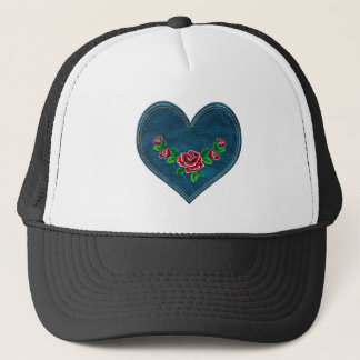 Heart with red roses trucker hat