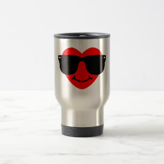 Heart with Sunglasses. 15 Oz Stainless Steel Travel Mug