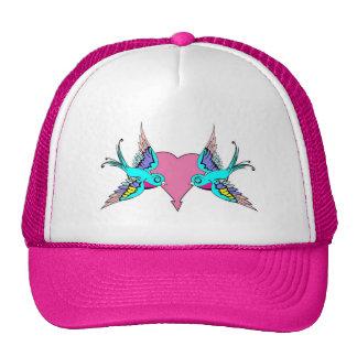 Heart with Swallow Love Birds Trucker Hat