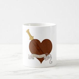 Heart With Sword Love Hurts Coffee Mug