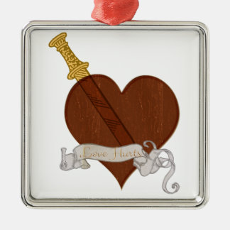Heart With Sword Love Hurts Metal Ornament