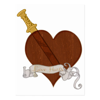 Heart With Sword Love Hurts Postcard