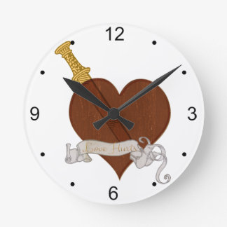 Heart With Sword Love Hurts Round Clock