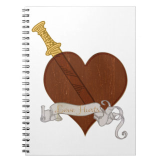 Heart With Sword Love Hurts Spiral Note Books