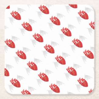 Heart With Tattered Wings Square Paper Coaster