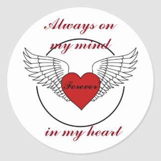 Heart with Wings and Quote Classic Round Sticker