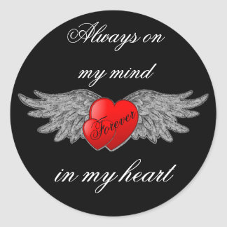 Heart with Wings and Quote Round Sticker