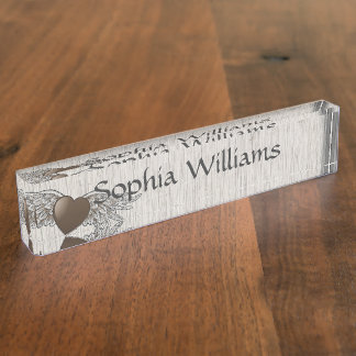 Heart with Wings Nameplate