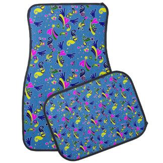 Heart with wings pop art style blue pattern auto mat