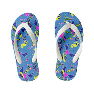 Heart with wings pop art style blue pattern kid's flip flops