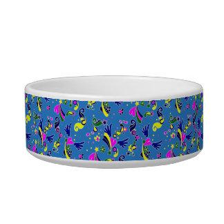 Heart with wings pop art style blue pattern pet food bowl