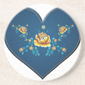 Heart with yellow roses coaster