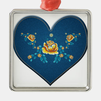 Heart with yellow roses metal ornament