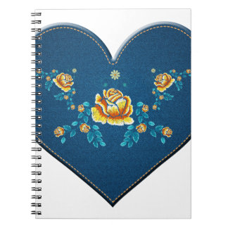 Heart with yellow roses notebook