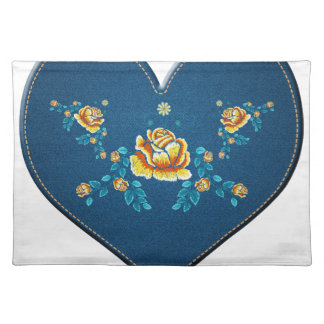 Heart with yellow roses placemat
