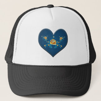 Heart with yellow roses trucker hat