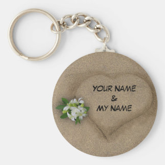 Heart with your Names in the Sand Basic Round Button Keychain
