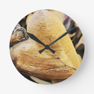 Heart Wooden Heart Hydrangea Flower Wood Love Round Clock